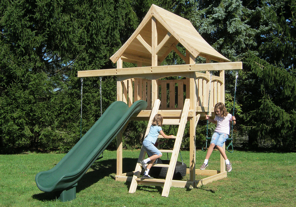 Triumph Play System's Kelton Space Saver cedar swing set for small backyards.