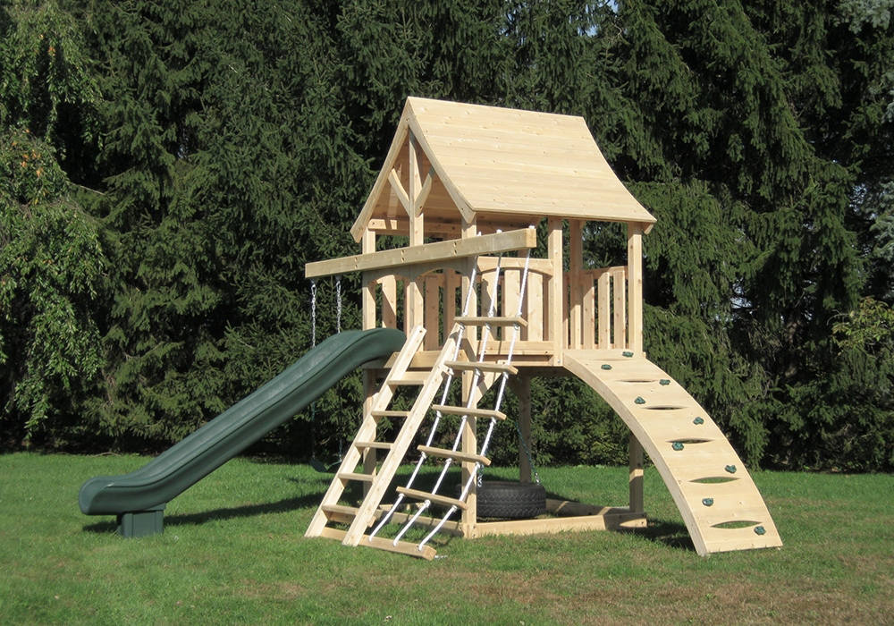 Triumph Play System's Kelton Space Saver Climber cedar swing set with wood roof for small yards.