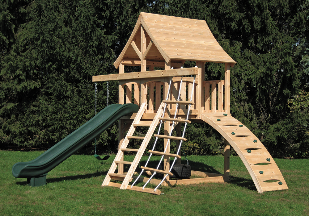 swing sets for small spaces cedar swing sets the kelton space saver climber 8419