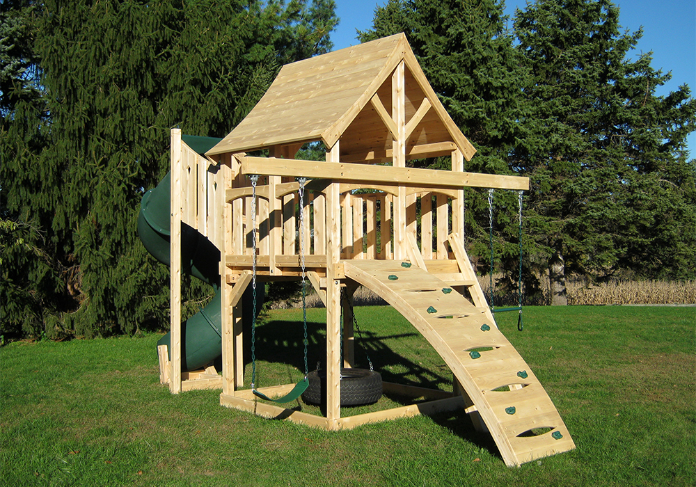 Triumph Play System's Kelton Space Saver Deluxe cedar swing set with tube slide for small yards.