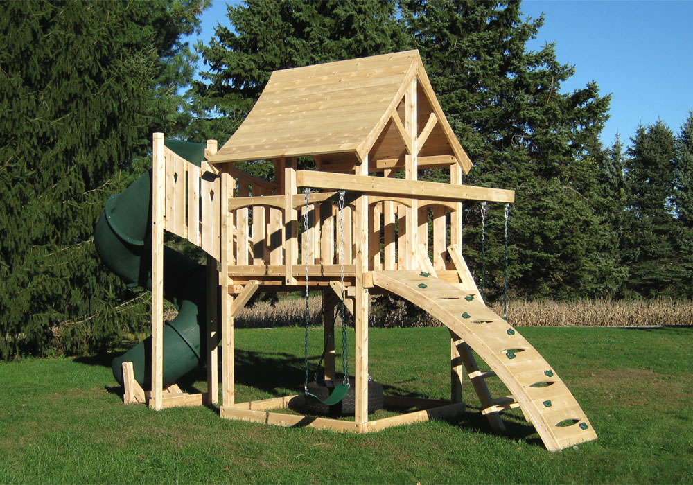 Cedar Swing Sets The Kelton Space Saver Deluxe