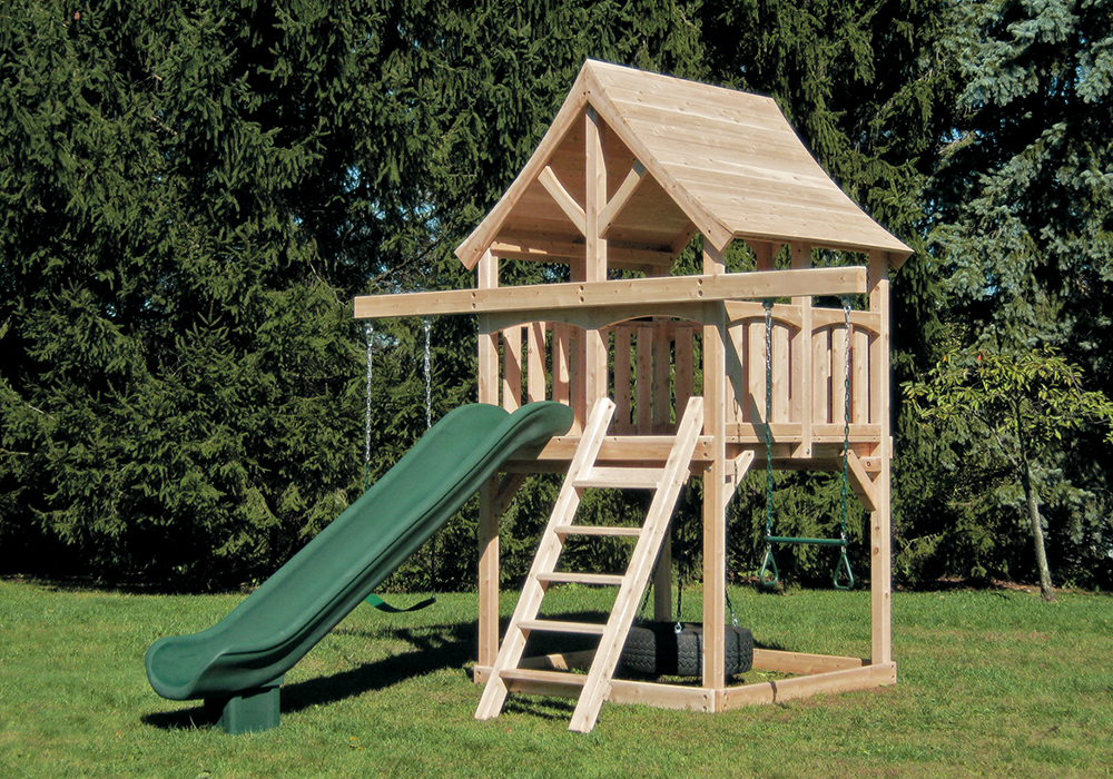 Cedar Swing Sets Kelton Space Saver Swing Set