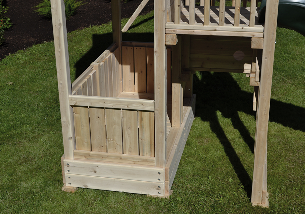 Triumph Play System's quad tower cedar swing set with wave slide.