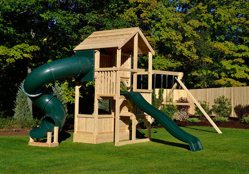 Triumph Play Systems Bailey Wooden Swing Set With Tire Swing And Super Large Play Deck