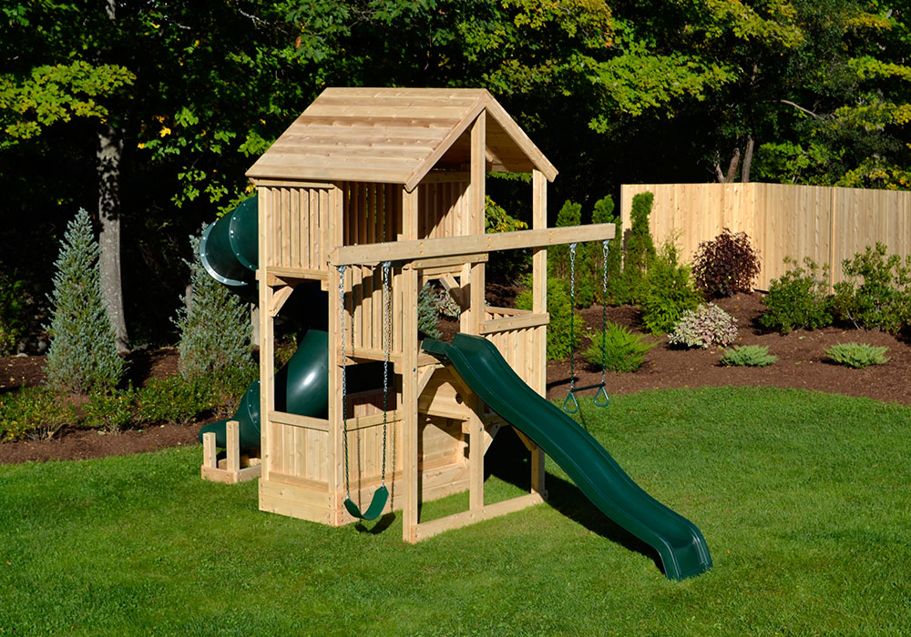 Cedar swing sets quad space saver deluxe for Small wooden swing sets