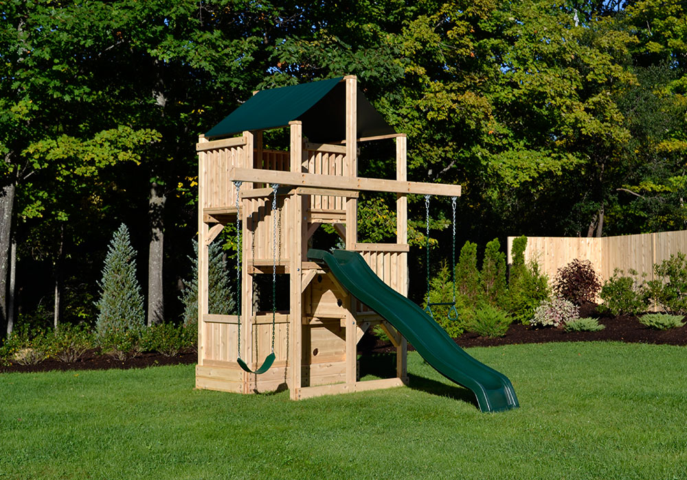 Cedar swing sets the quad space saver tower for Small wooden swing sets